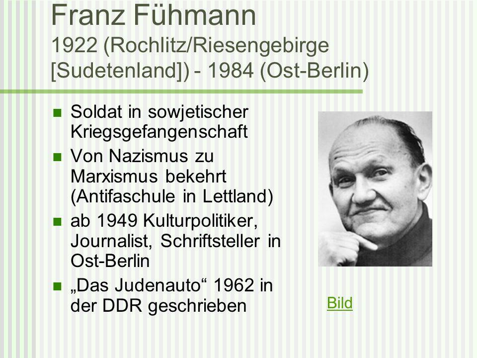 Franz Fühmann 1922 (Rochlitz/Riesengebirge [Sudetenland]) - 1984 (Ost-Berlin)